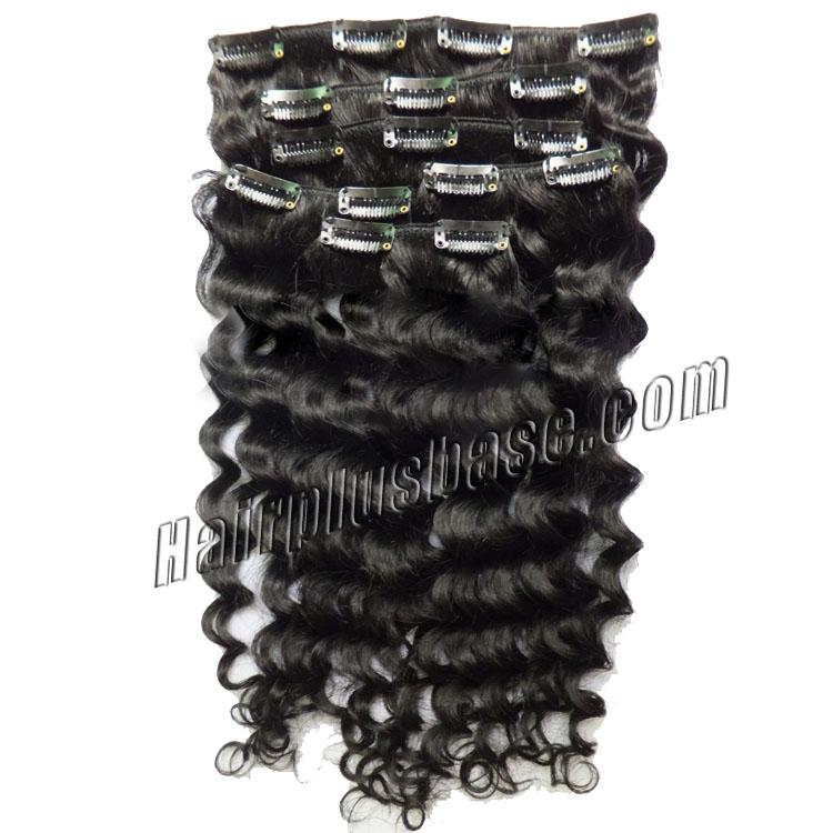 18 Inch New #1 Jet Black Clip In Remy Hair Extensions Curly 7 Pcs Pack no 1