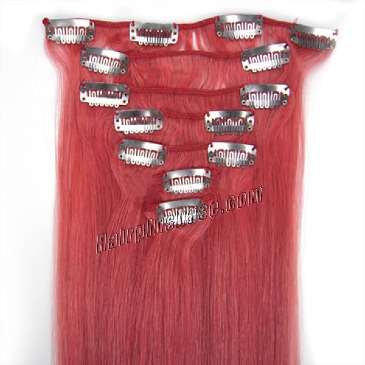 18 Inch Pink Clip In Remy Human Hair Extensions 7pcs