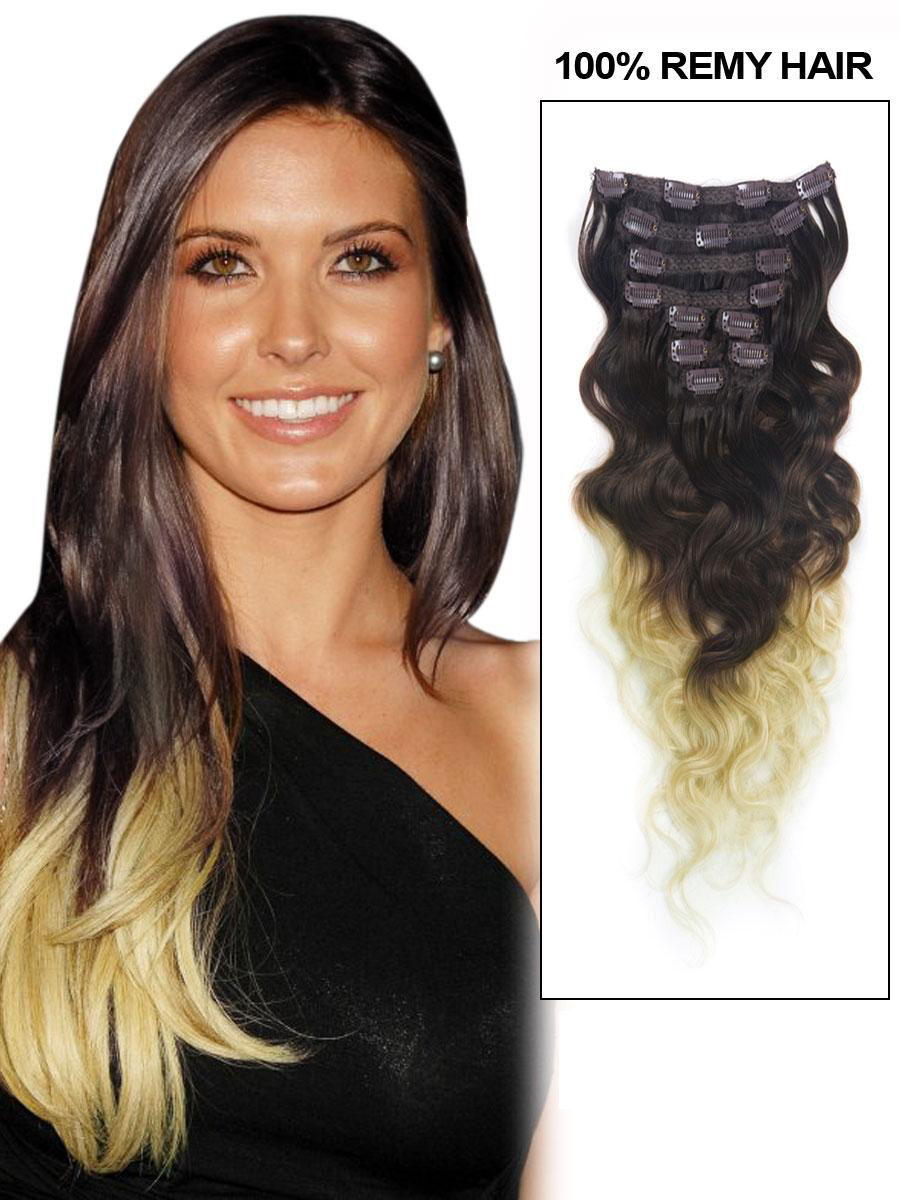 18 Inch Special Three Colors Ombre Clip In Remy Hair Extensions Body Wave 9pcs