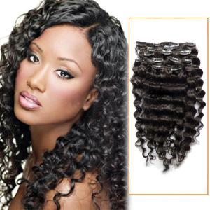 18 Inch Versatile #1B Natural Black Clip In Hair Extensions Curly 7 Pieces