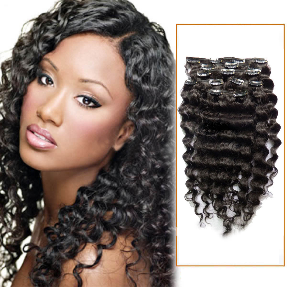 18 Inch Versatile 1b Natural Black Clip In Hair Extensions Curly 7