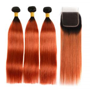 1B/350 Ombre Hair Color Straight Hair 3 Bundles With Closure