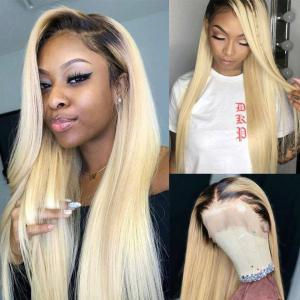 1B/613 Straight Blonde 150%-200% Density Lace Front Wigs With Dart Roots