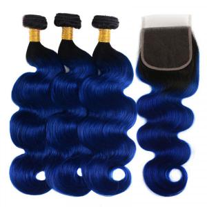1B/Blue Ombre Color Body Wave Human Hair Weaves With Lace Closure
