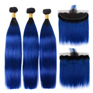 1B/Blue Straight Hair 3 Bundles With Lace Frontal Ombre Hair With Black Roots