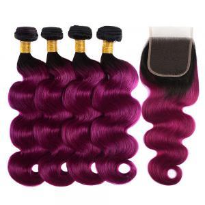 1B/Purple Ombre Color Body Wave 4 Bundles With 4*4 Lace Closure
