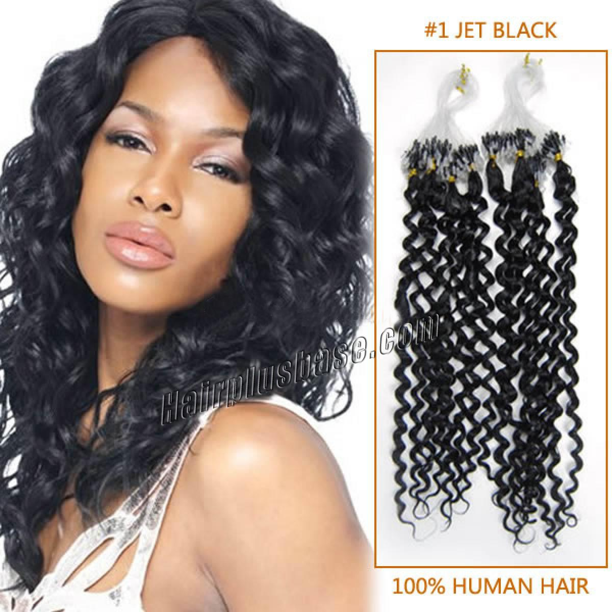 Inch 1 jet black curly micro loop human hair extensions 100s 20 inch 1 jet black curly micro loop human hair extensions 100s pmusecretfo Images