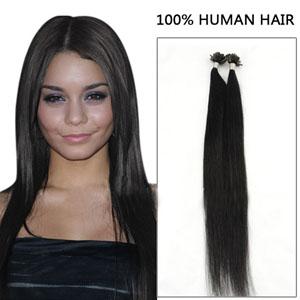 20 Inch 100s Cascading Straight Nail/U Tip Human Hair Extensions #1 Jet Black 50g