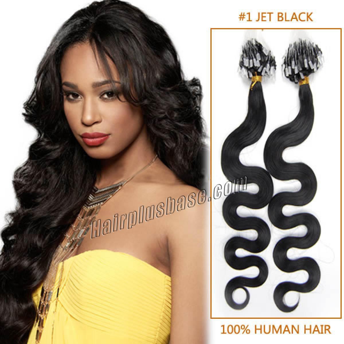 20 Inch 1 Jet Black Wavy Micro Loop Human Hair Extensions 100s