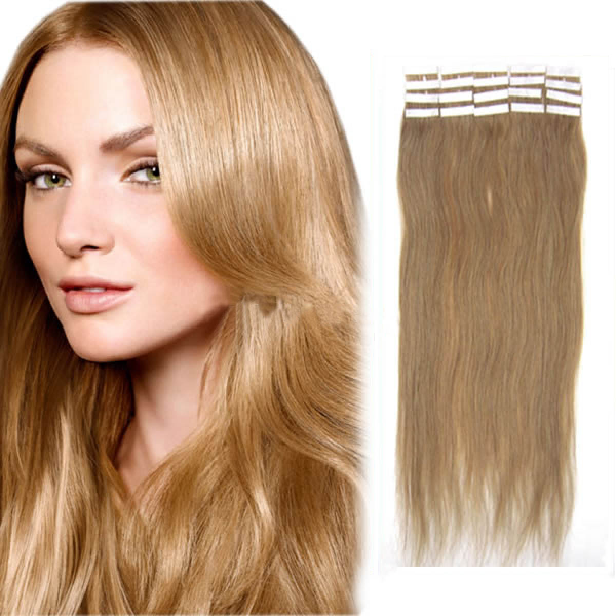 20 Inch 16 Golden Blonde Tape In Human Hair Extensions 20pcs