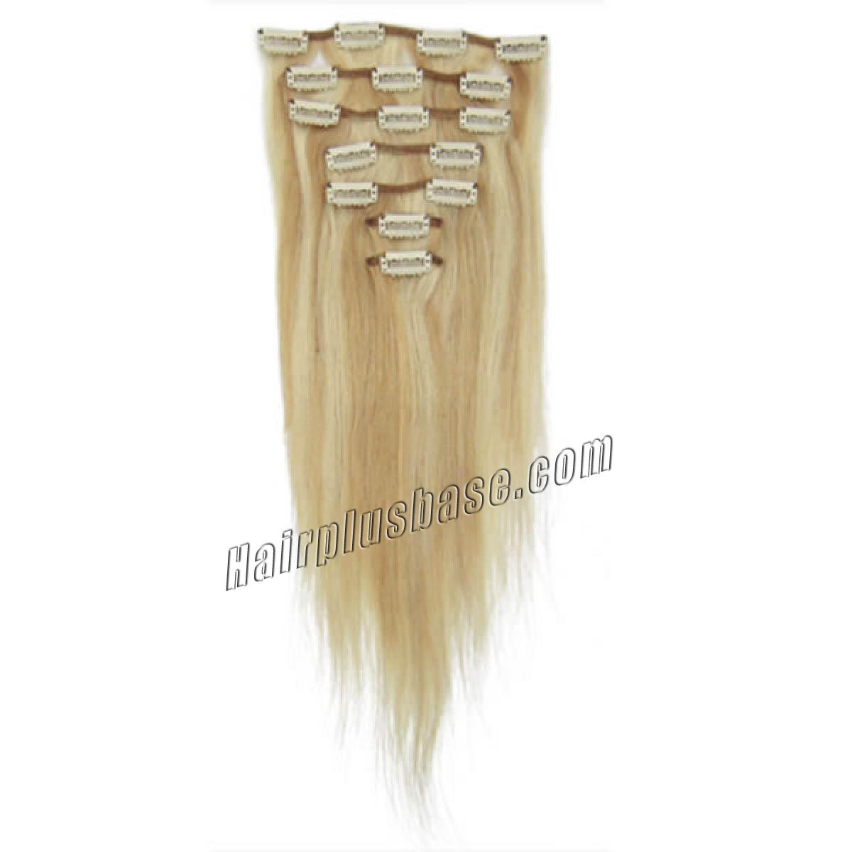 20 Inch #18/613 Blonde Highlight Clip In Remy Human Hair Extensions 7pcs no 1