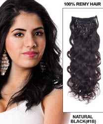 20 Inch #1B Natural Black Clip In Remy Hair Extensions Body Wave 11 Pcs
