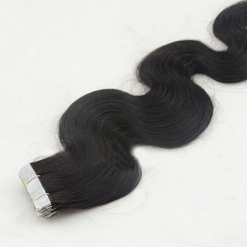 20 Inch #1B Natural Black Tape In Hair Extensions Charming Body Wave 20 Pcs no 3