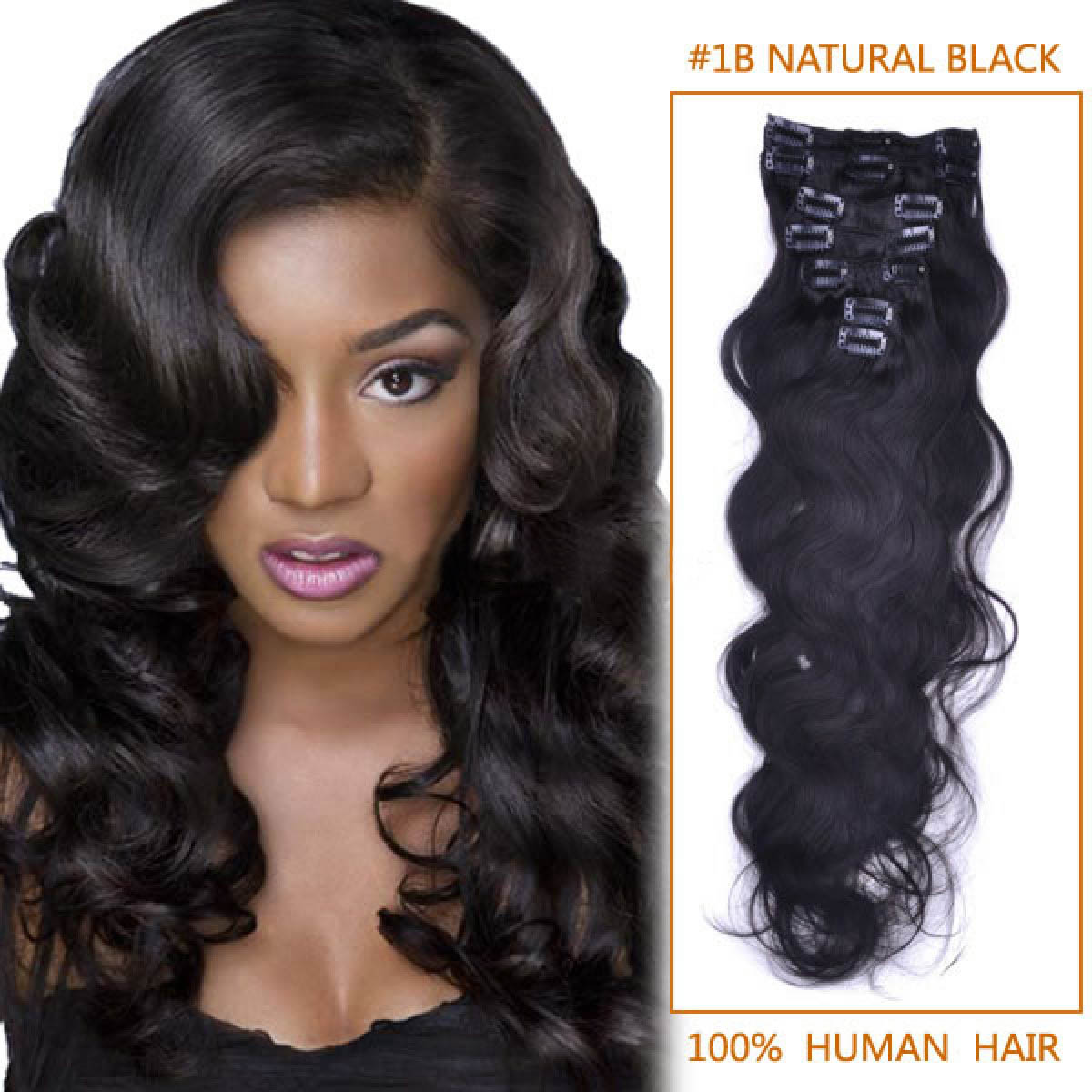 20 Inch  1b Natural Black Wavy Clip In Remy Human Hair Extensions 7pcs 123780fec9aa
