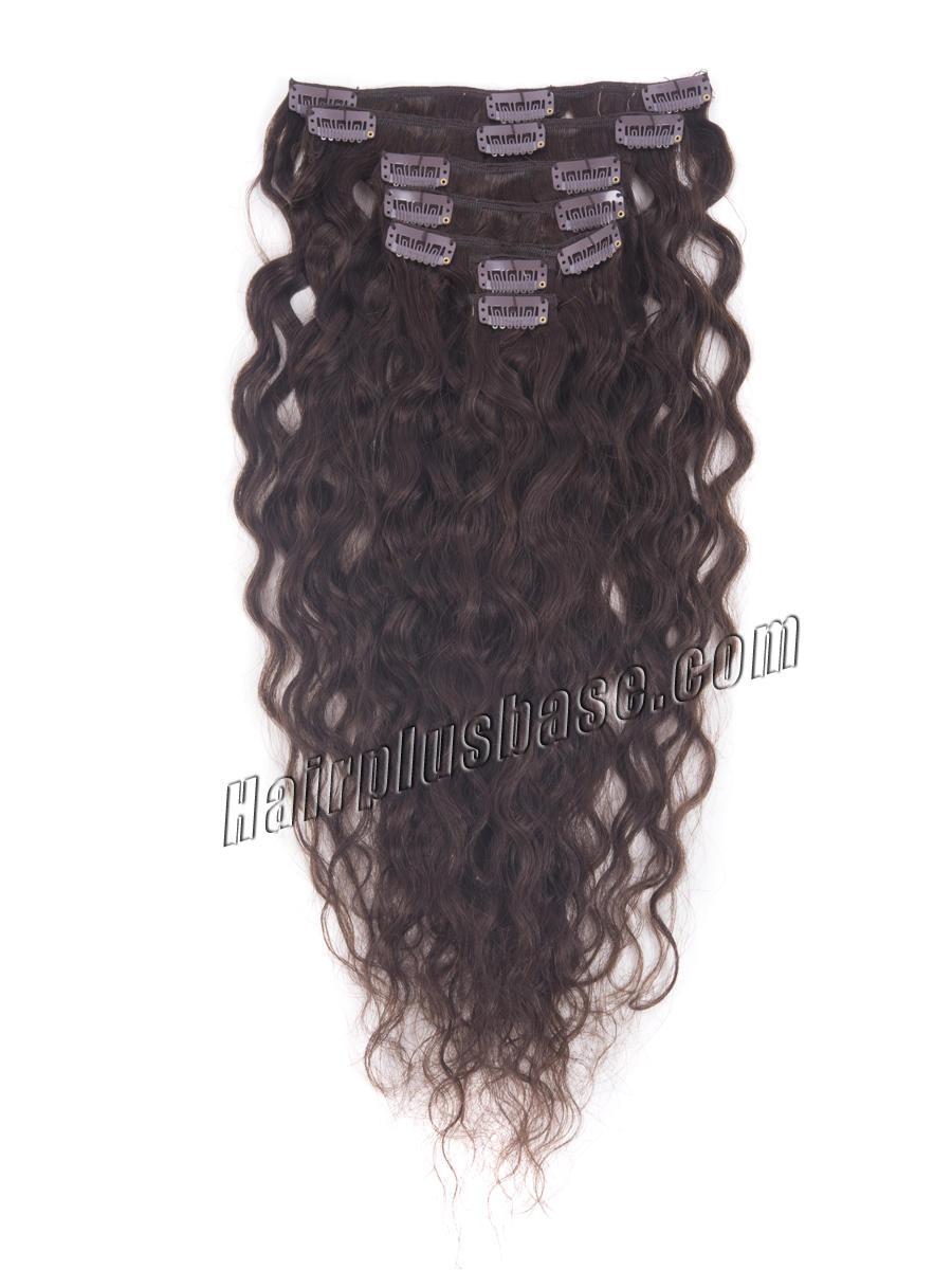 20 Inch #2 Dark Brown Clip In Indian Hair Extensions Natural Loose Wavy 7 Pcs no 2