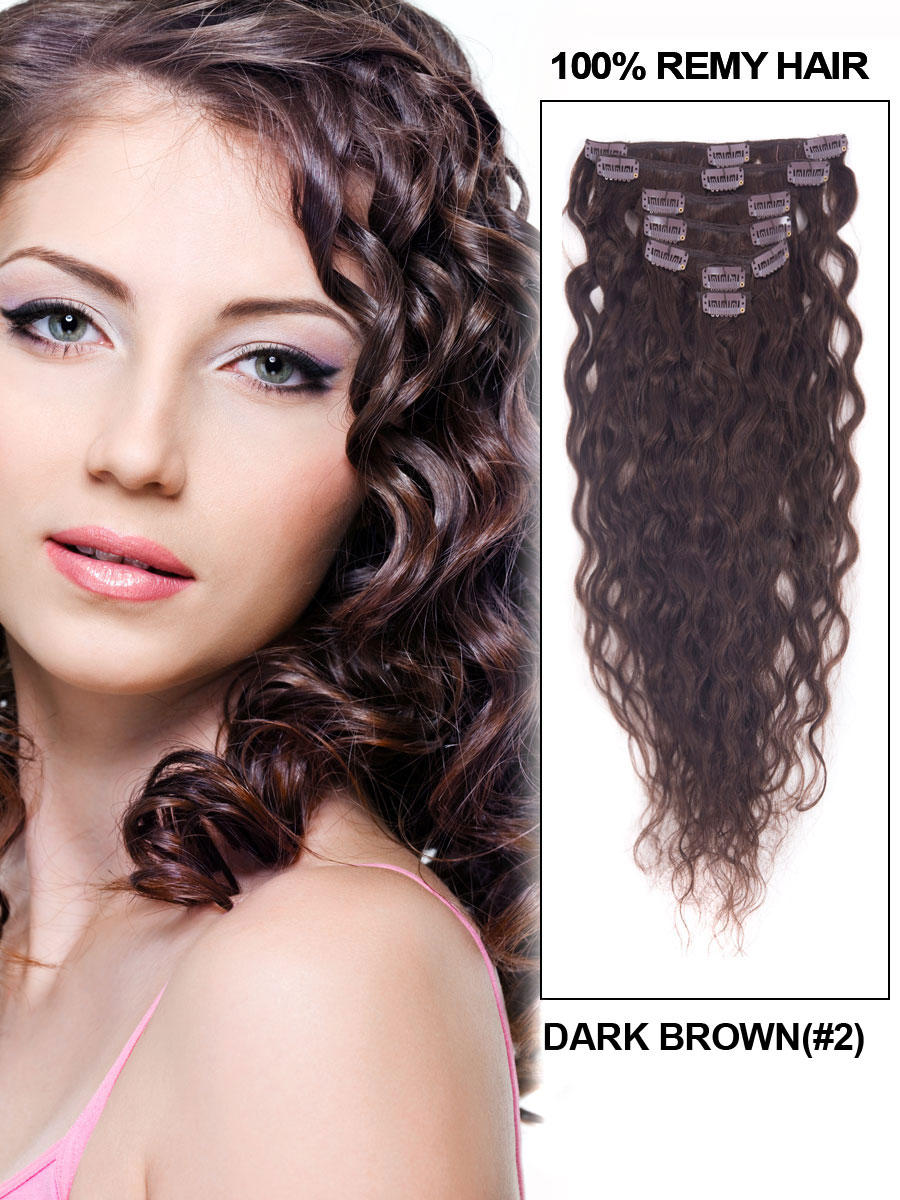 20 Inch #2 Dark Brown Clip In Indian Hair Extensions Natural Loose Wavy 7 Pcs