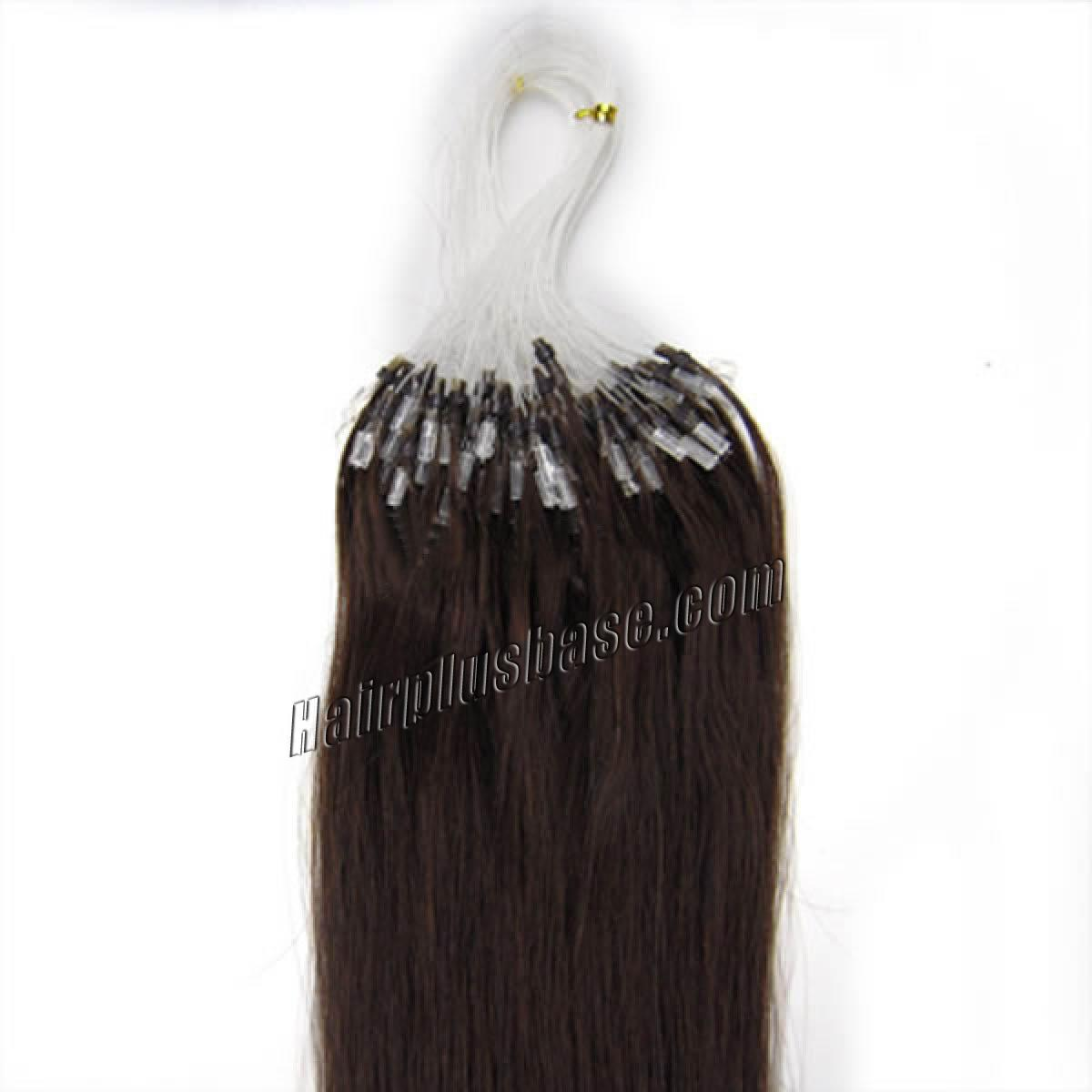 20 Inch #2 Dark Brown Micro Loop Human Hair Extensions 100S no 2
