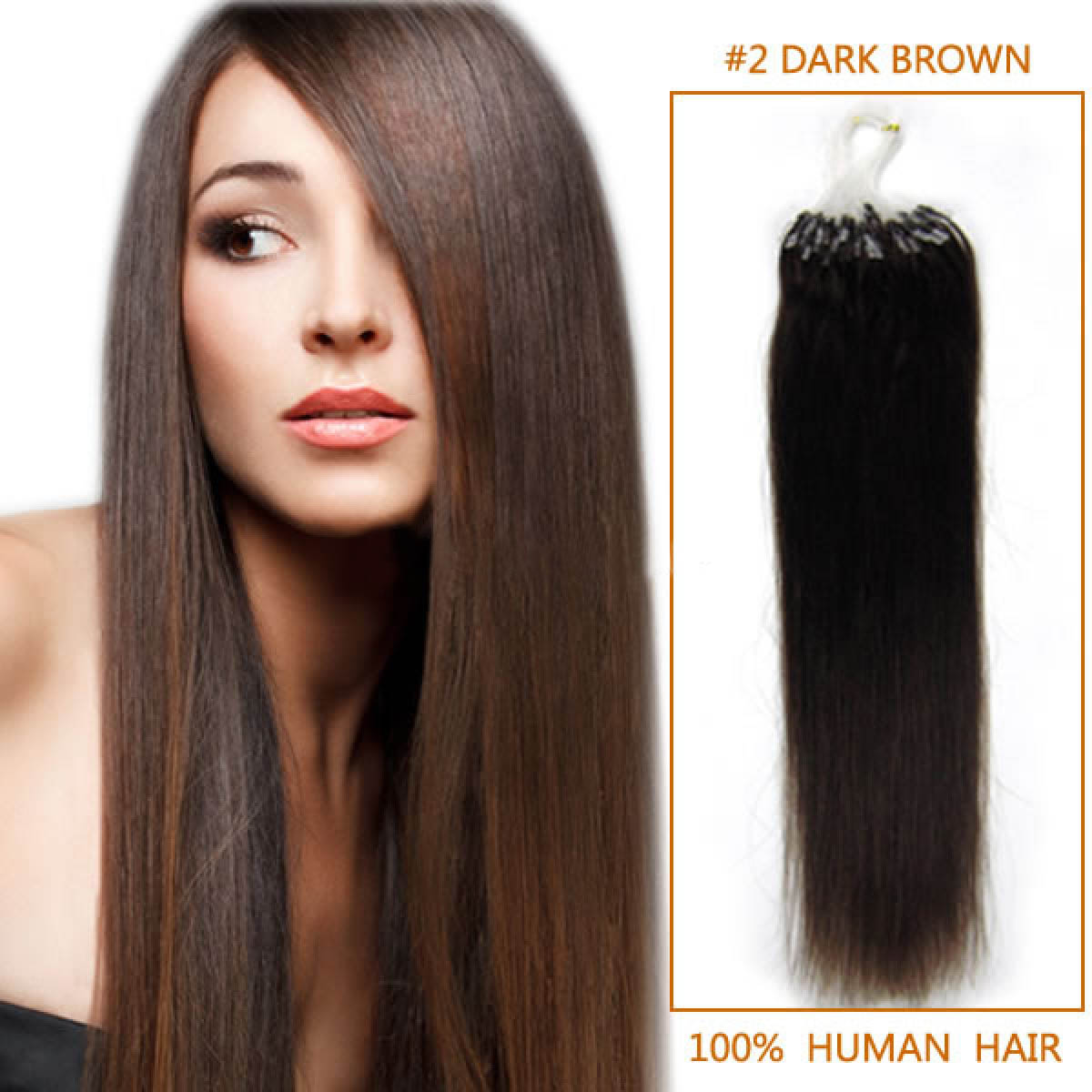 20 Inch #2 Dark Brown Micro Loop Human Hair Extensions 100S