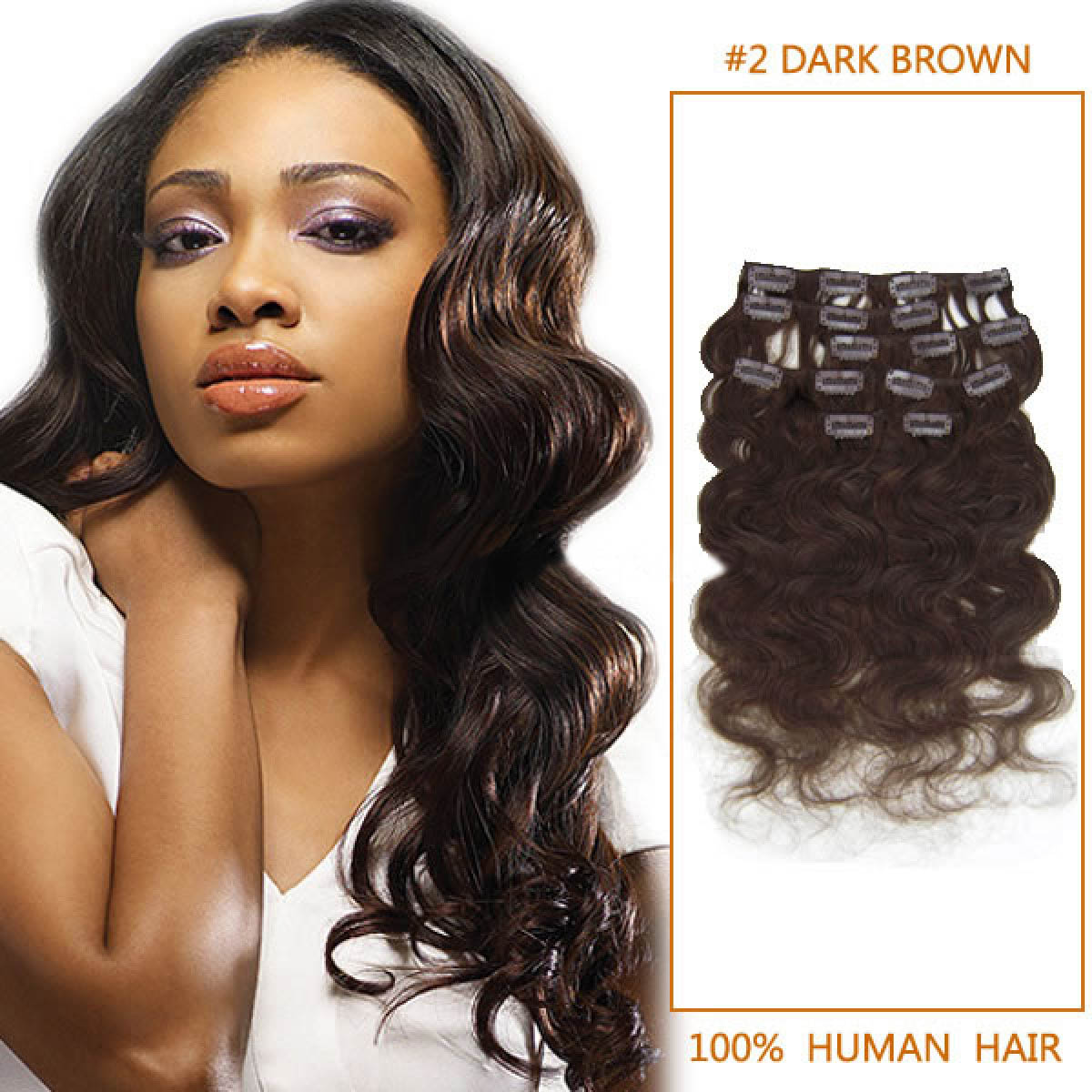 20 Inch 2 Dark Brown Wavy Clip In Human Hair Extensions 10pcs
