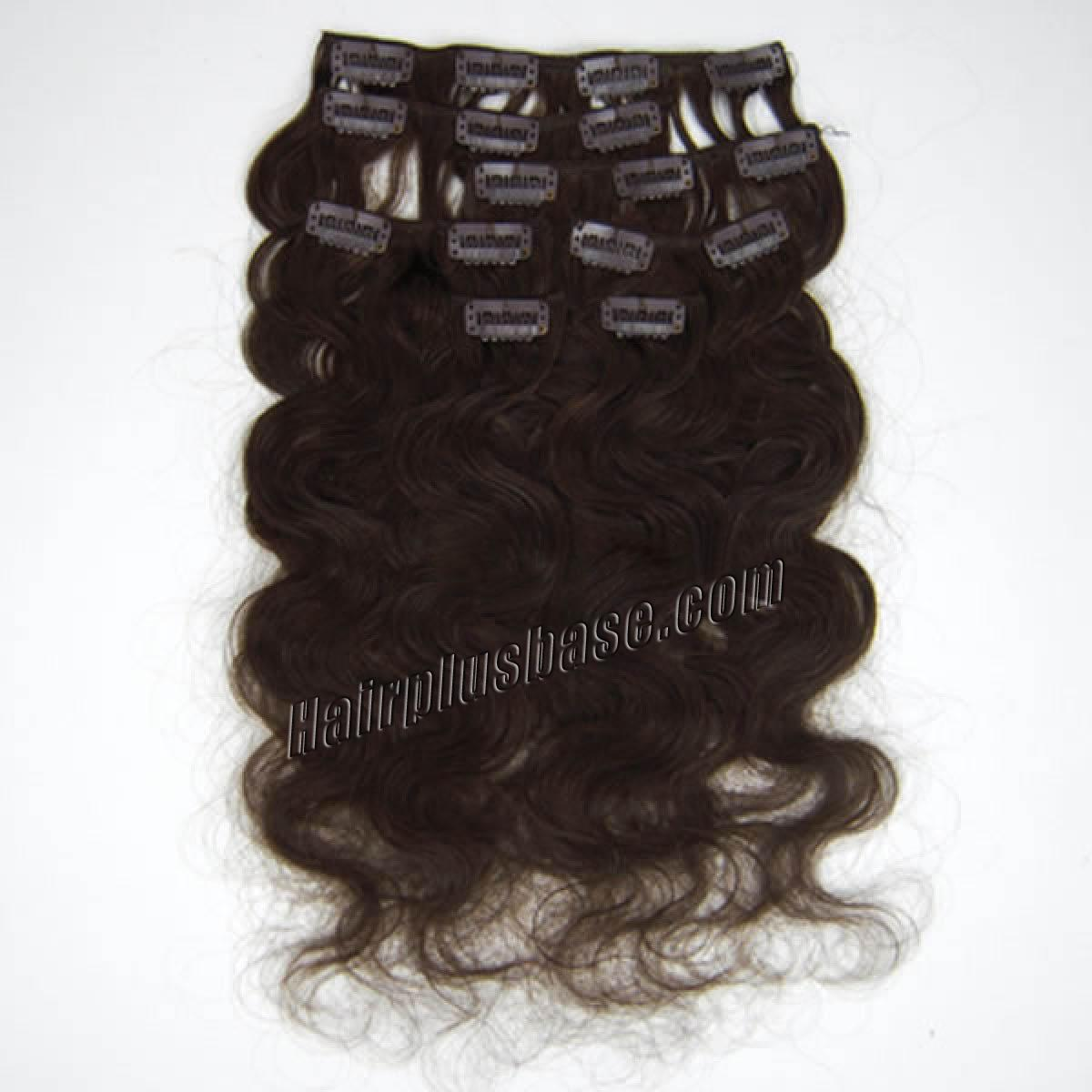 20 Inch 2 Dark Brown Wavy Clip In Remy Human Hair Extensions 7pcs