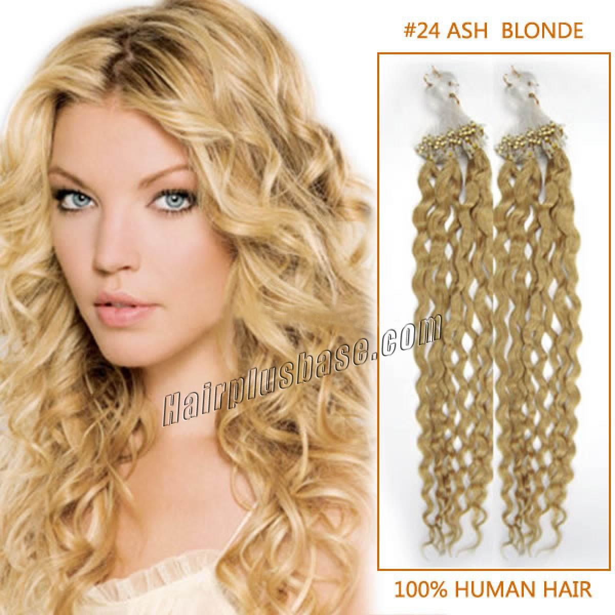 20 Inch 24 Ash Blonde Curly Micro Loop Human Hair