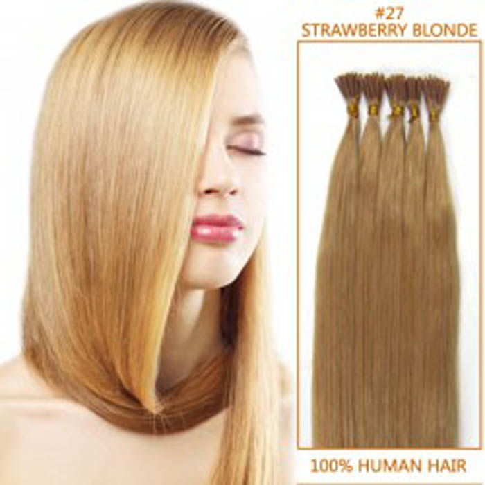 20 Inch 27 Strawberry Blonde Stick Tip Human Hair Extensions 100s