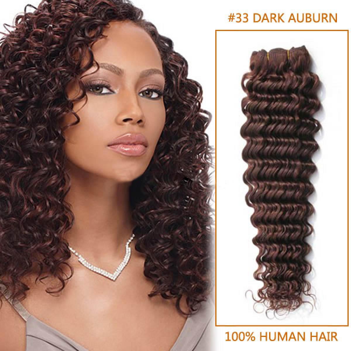 20 Inch 33 Dark Auburn Deep Wave Indian Remy Hair Wefts