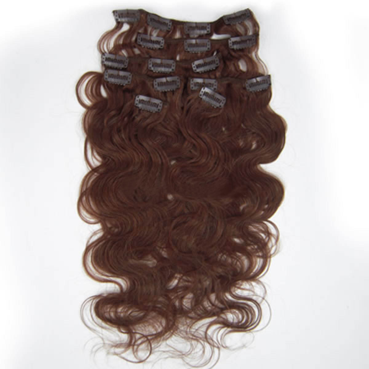20 Inch 33 Dark Auburn Wavy Clip In Human Hair Extensions 10pcs