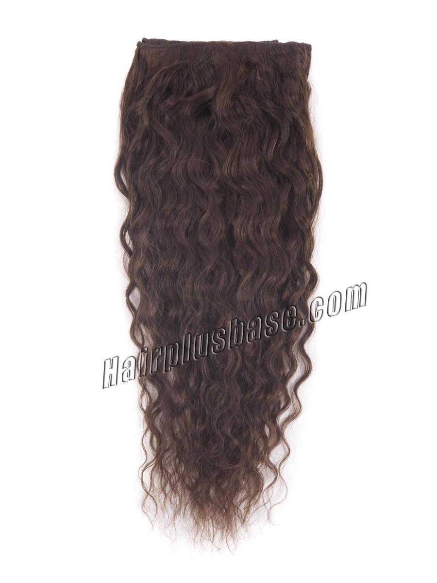 20 Inch #4 Medium Brown Convenient Clip In Hair Extensions French Wavy 7 Pcs no 1