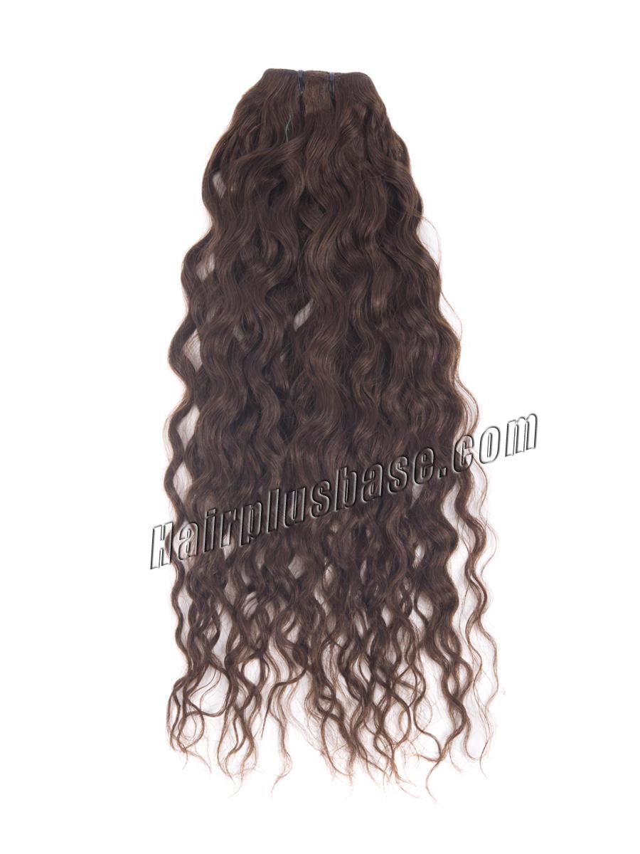 20 Inch #4 Medium Brown Convenient Clip In Hair Extensions French Wavy 7 Pcs no 3