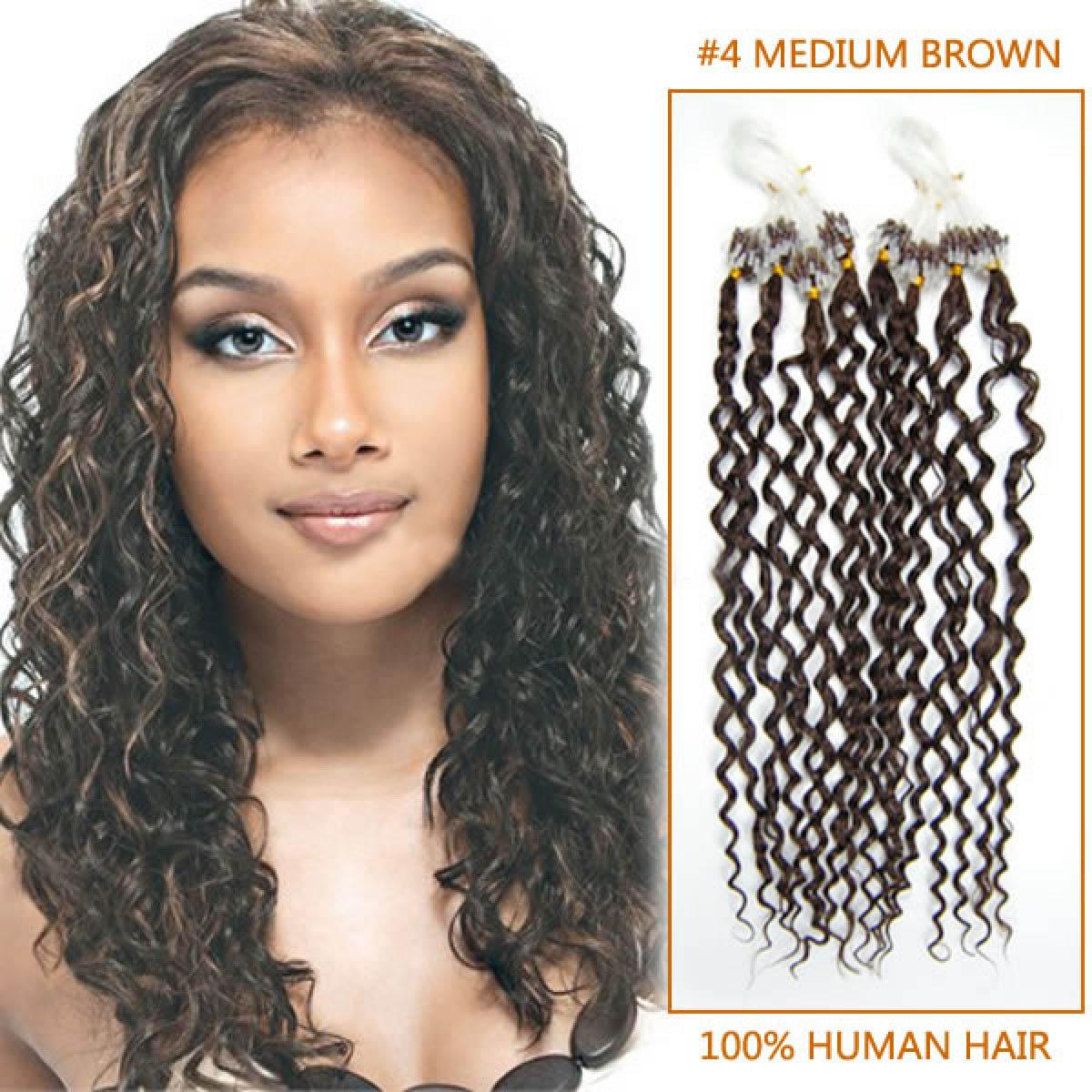20 Inch 4 Medium Brown Deep Curly Micro Loop Hair Extensions 100