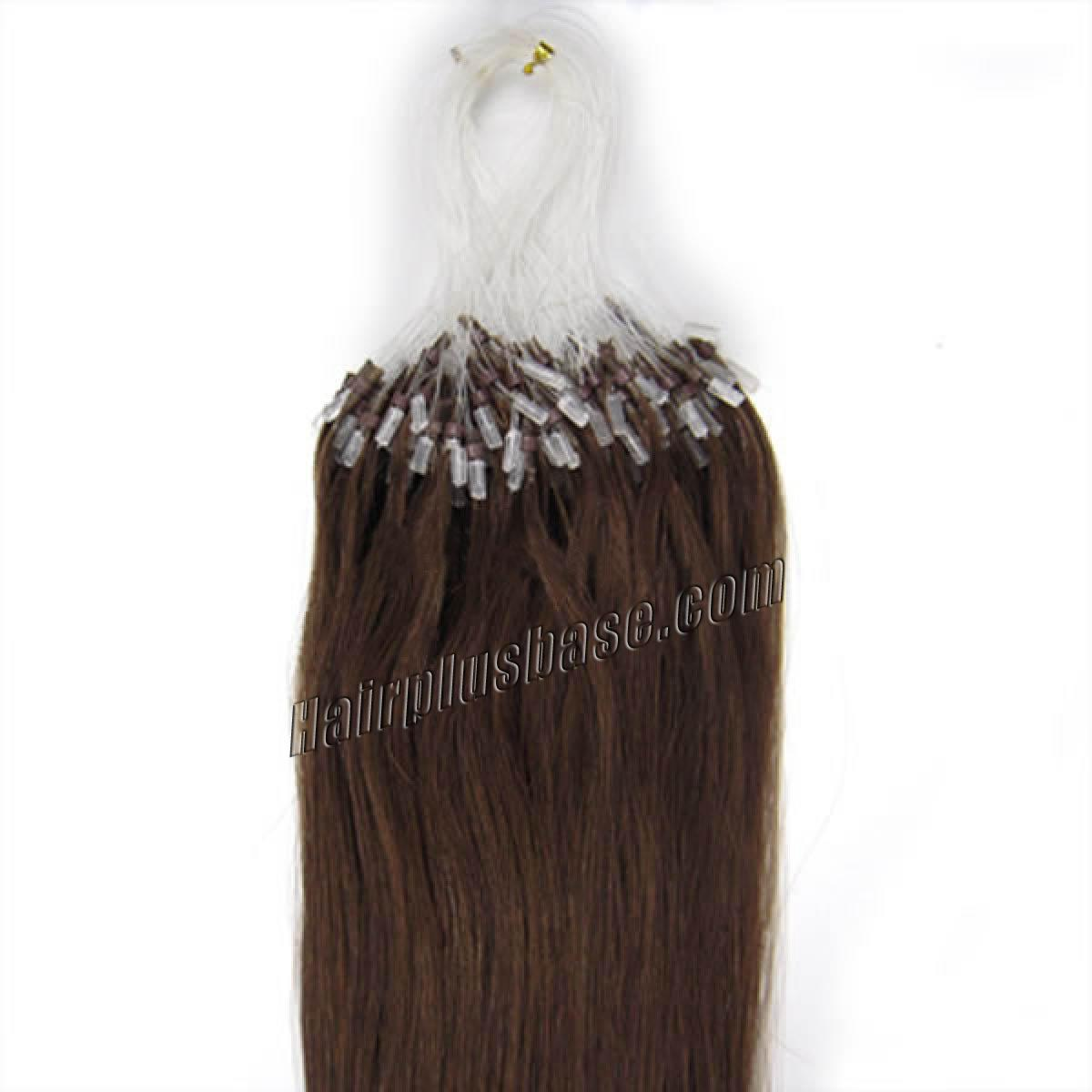 20 Inch #4 Medium Brown Micro Loop Human Hair Extensions 100S no 2