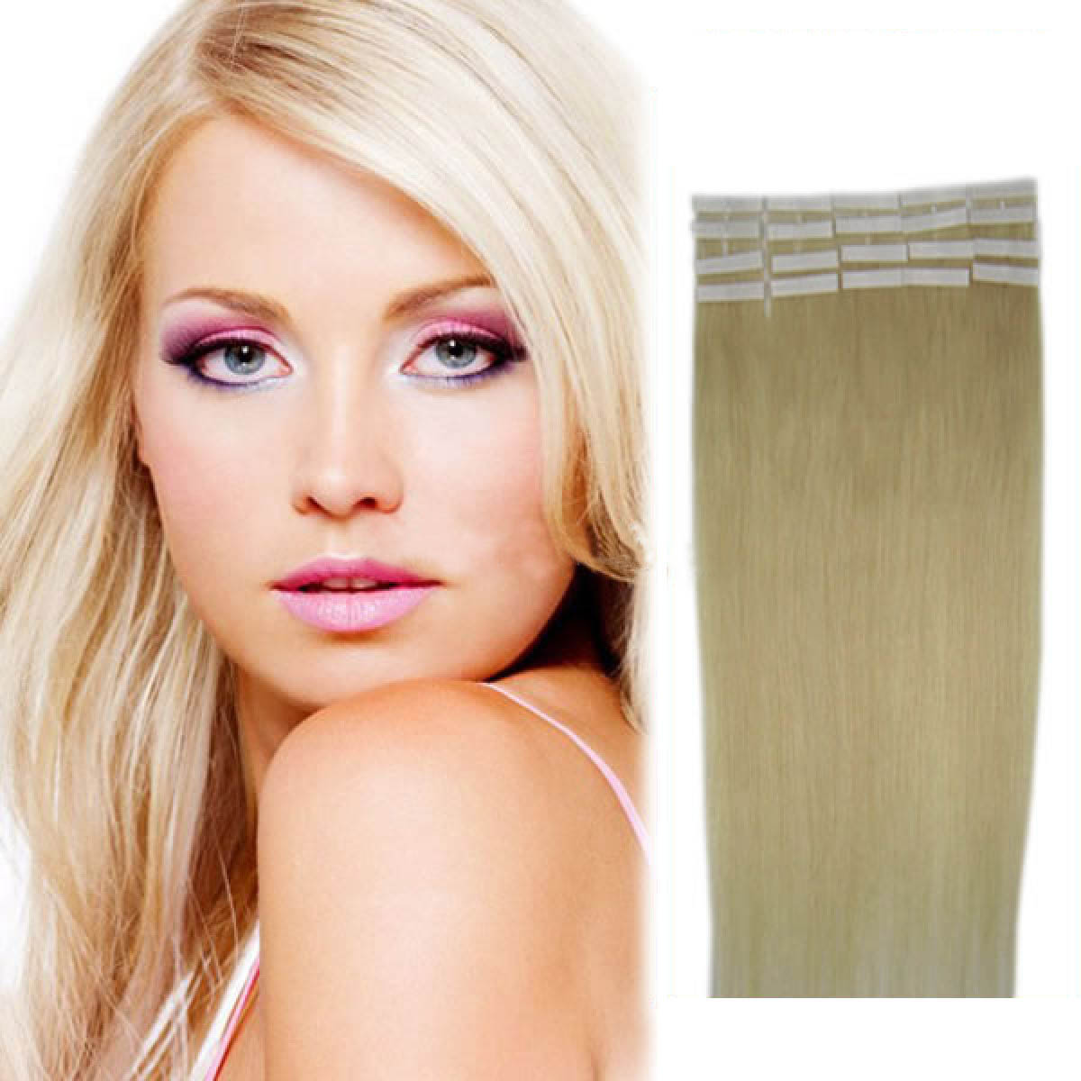 20 inch 60 white blonde tape in human hair extensions 20pcs