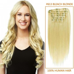 20 Inch #613 Bleach Blonde Clip In Remy Human Hair Extensions 7pcs