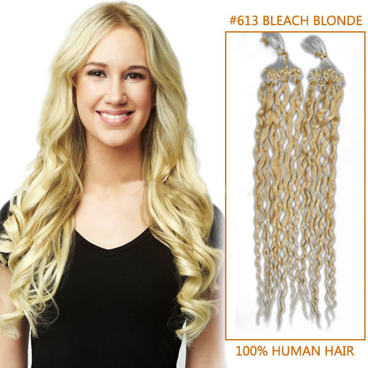 20 Inch 613 Bleach Blonde Curly Micro Loop Human Hair Extensions 100s