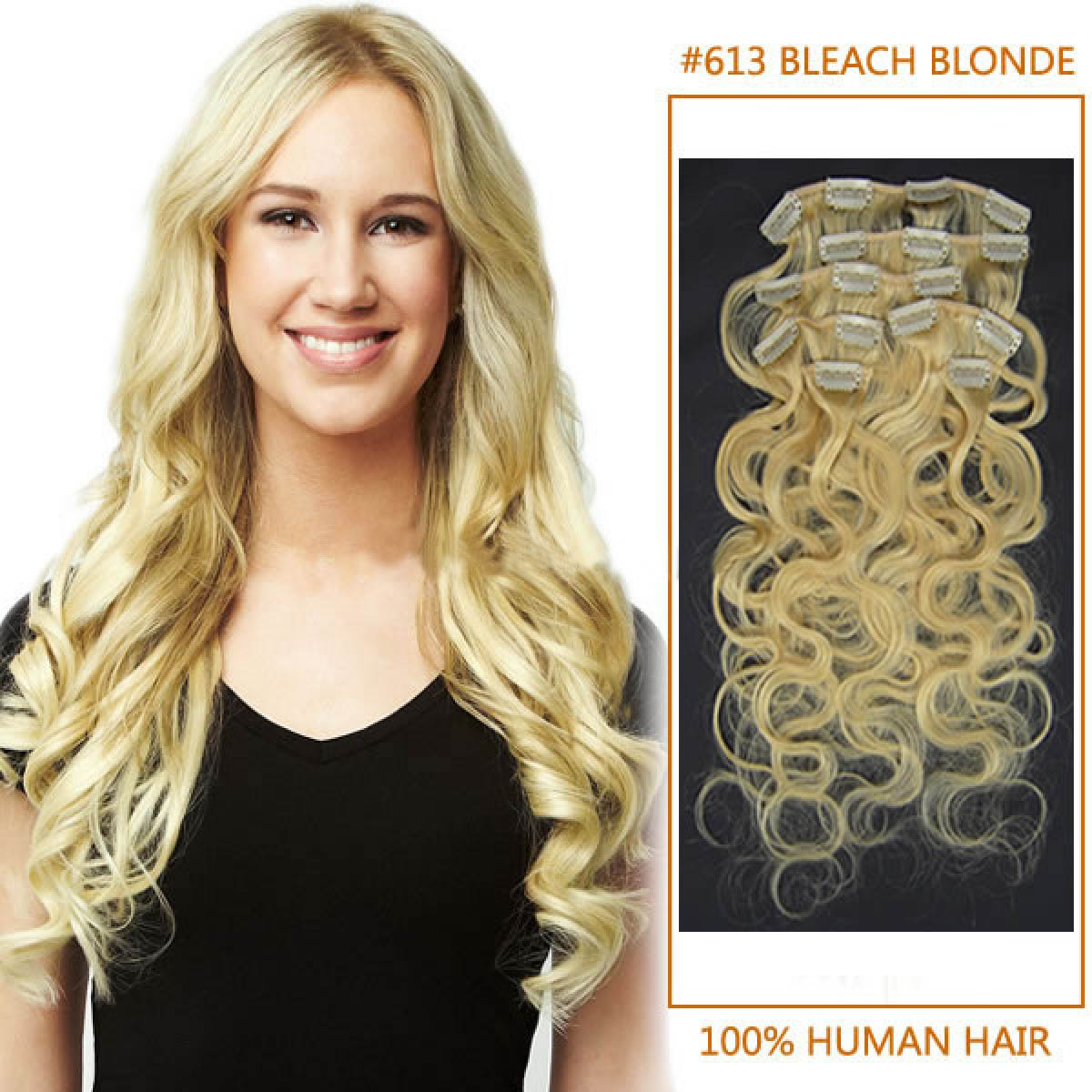 20 Inch 613 Bleach Blonde Wavy Clip In Human Hair Extensions 10pcs