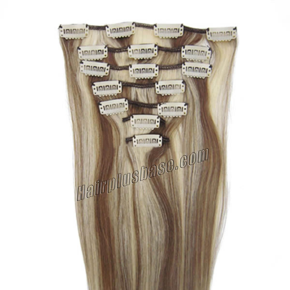 20 Inch #8/613 Brown/Blonde Clip In Human Hair Extensions 8pcs no 1
