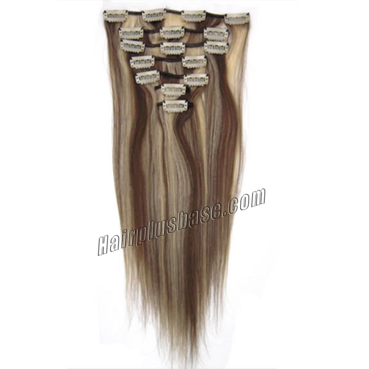 20 Inch #8/613 Brown/Blonde Clip In Human Hair Extensions 8pcs no 2