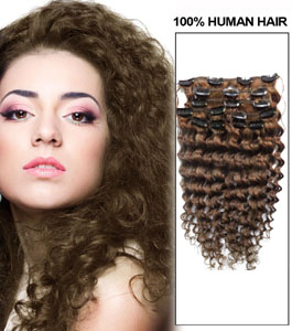 20 Inch #8 Ash Brown Unusual Clip In Hair Extensions Curly 7 Pieces