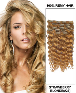 20 Inch Adorable #27 Strawberry Blonde Clip In Remy Hair Extensions Curly 7 Pcs