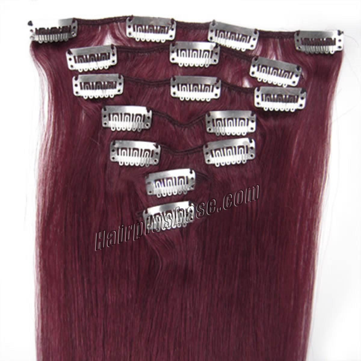 20 Inch Bug Clip In Remy Human Hair Extensions 7pcs no 1