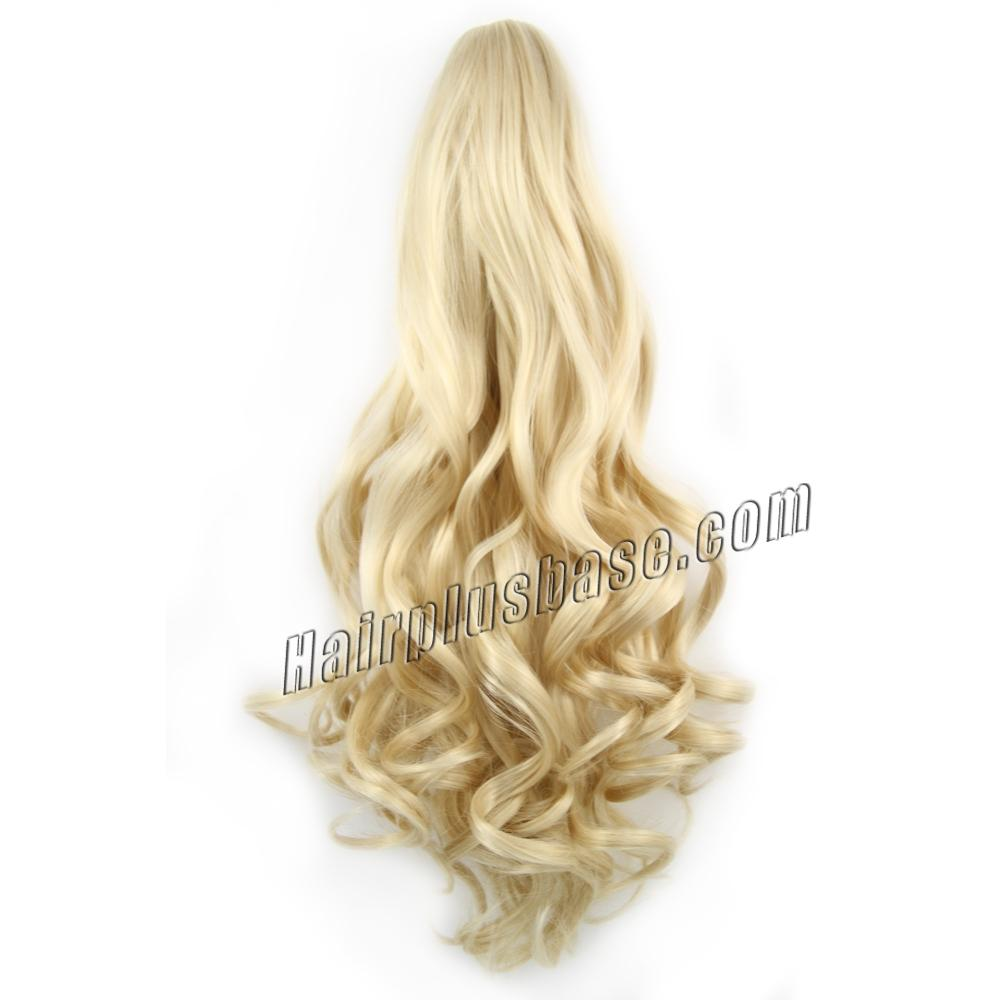 20 Inch Convenient Claw Clip Human Hair Ponytail Curly #24 Ash Blonde no 1