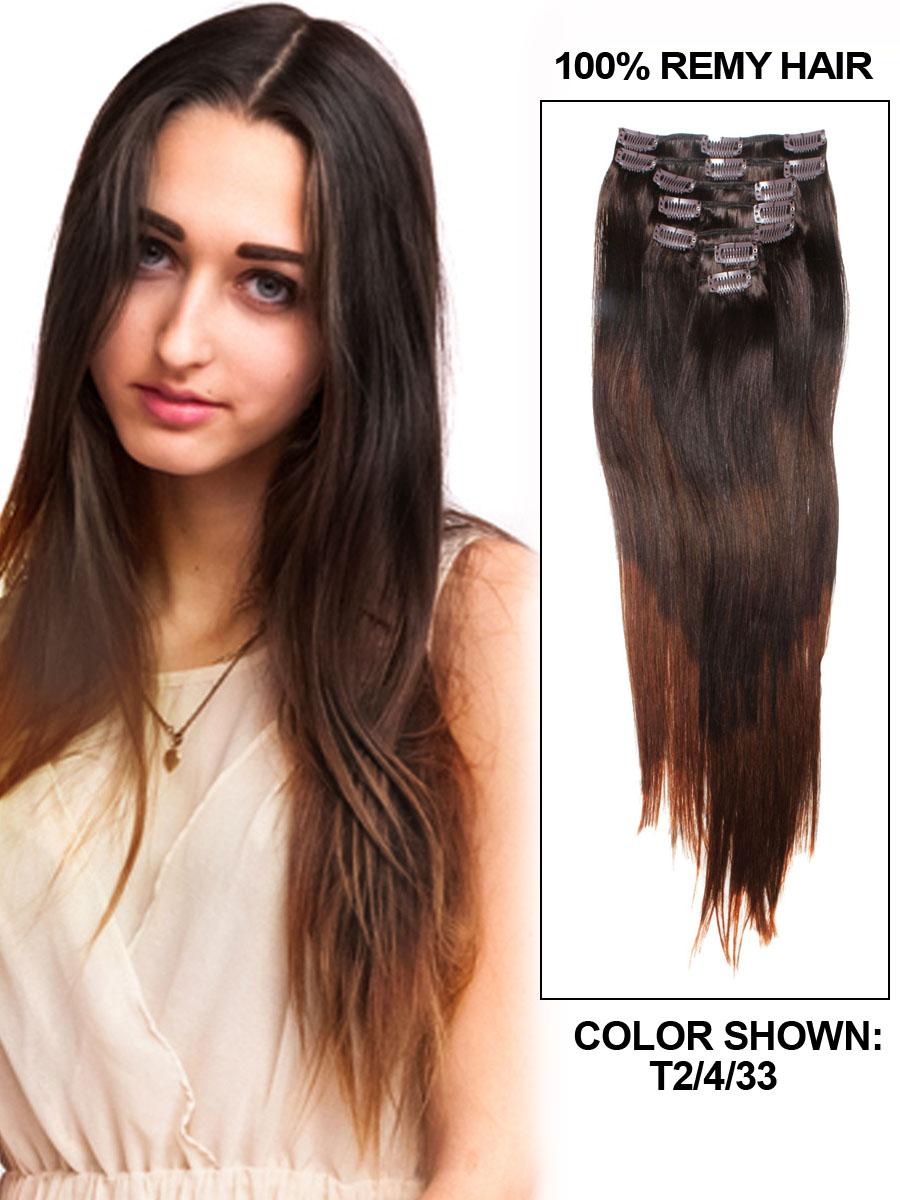 20 Inch Ombre Dark Auburnmedium Brown And Dark Brown Clip In Hair