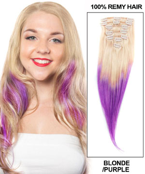 20 Inch Ombre Smooth Clip in Hair Extensions Two Tone Straight 9 Pieces