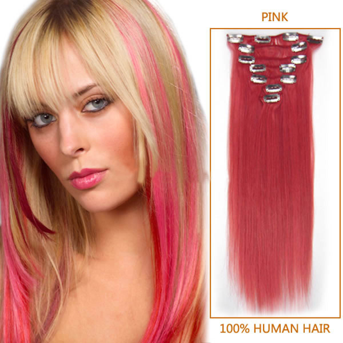 20 Inch Pink Clip In Remy Human Hair Extensions 7pcs