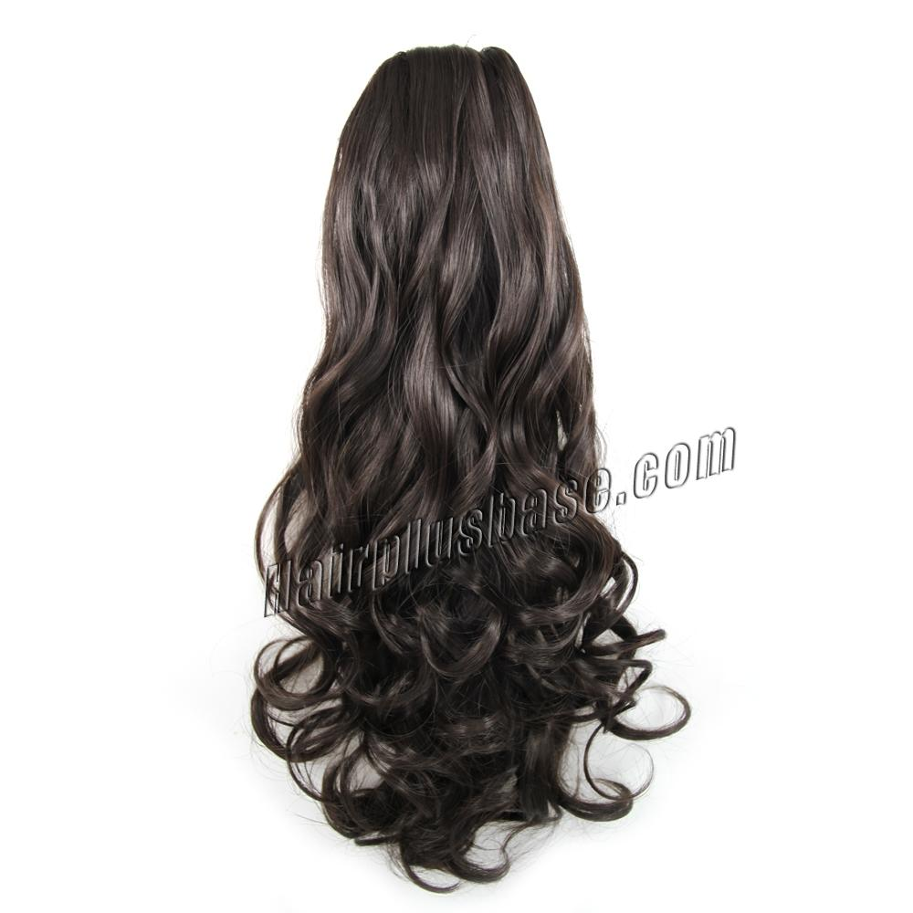 20 Inch Simple but Effective Drawstring Human Hair Ponytail Curly #4 Medium Brown no 1