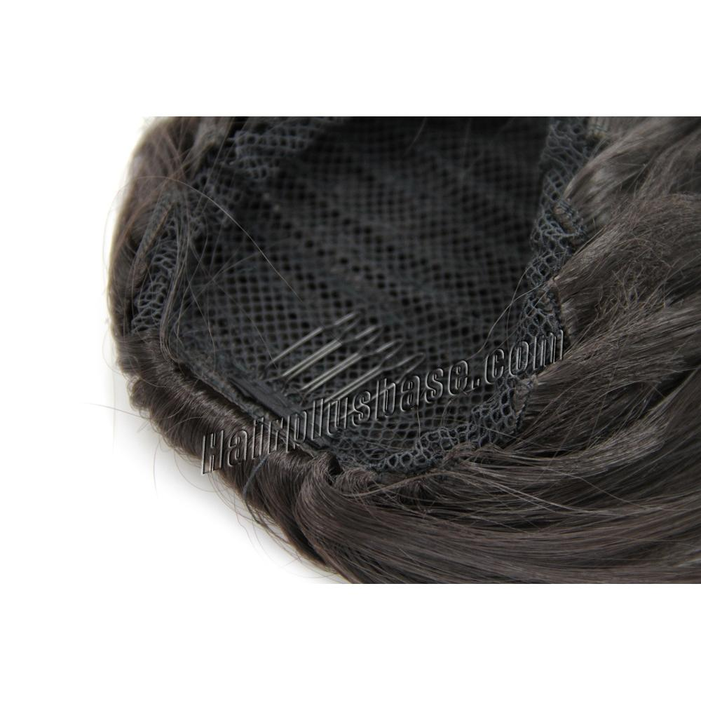 20 Inch Simple but Effective Drawstring Human Hair Ponytail Curly #4 Medium Brown no 2