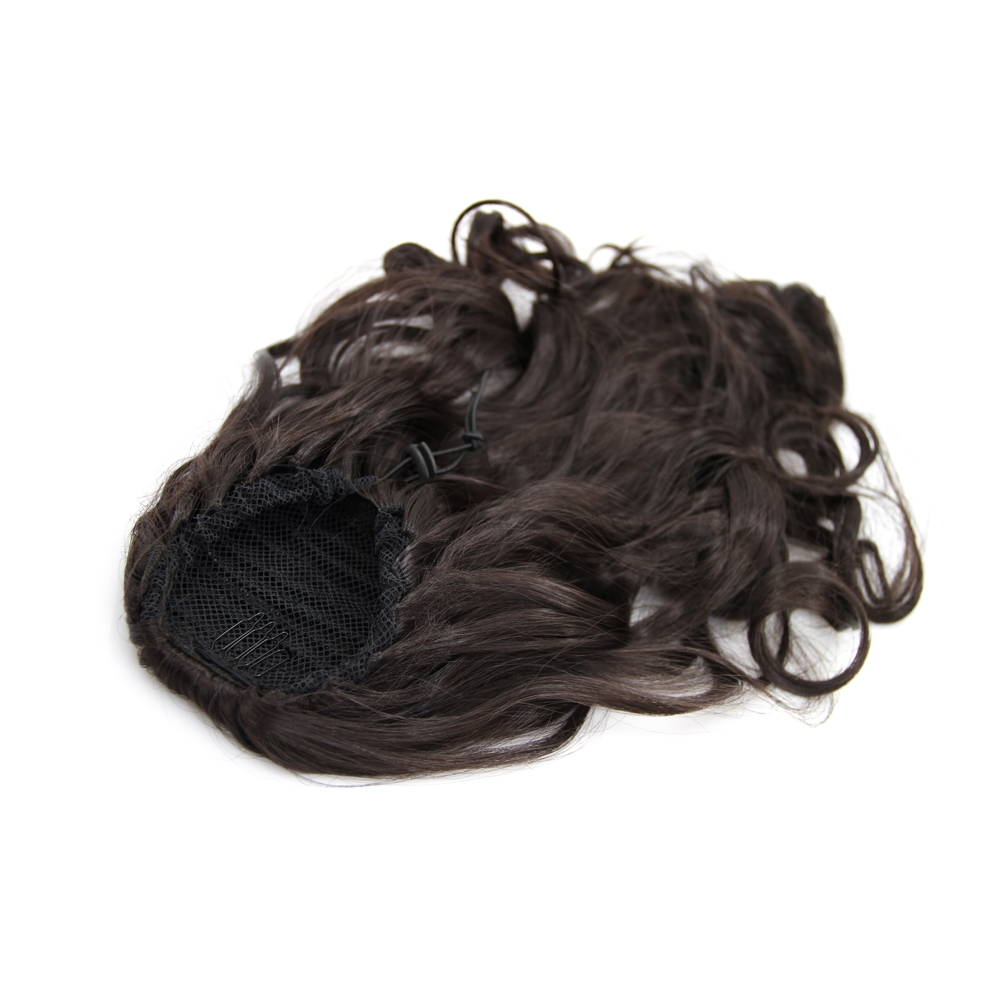 20 Inch Simple but Effective Drawstring Human Hair Ponytail Curly #4 Medium Brown