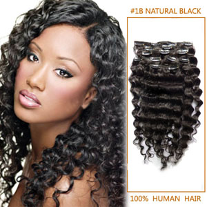 20 Inshies Versatile #1B Natural Black Clip In Hair Extensions Curly 7 Pieces