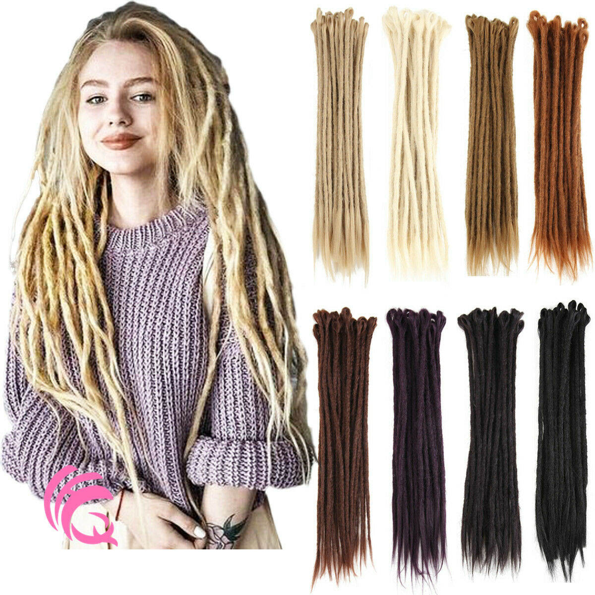 20pcs 20 Inch Handmade Dreadlocks Single Ended Locs Synthetic Dreads Hair Extensions 16